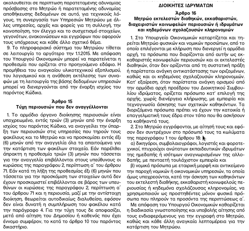 ΦΕΚ 185Α ΚΛΗΡΟΔΟΤΗΜΑΤΑ 5α