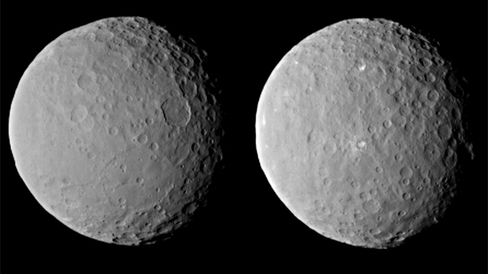 These images of dwarf planet Ceres, processed to enhance clarity, were taken on Feb. 19, 2015, from a distance of about 29,000 miles (46,000 kilometers), by NASA's Dawn spacecraft (Image from nasa.gov)