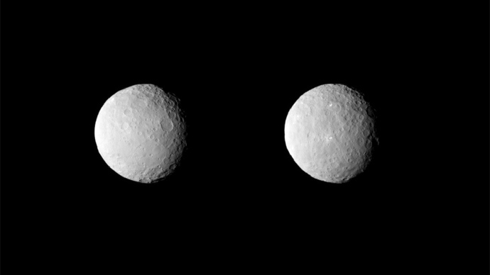NASA's Dawn spacecraft obtained these uncropped images of dwarf planet Ceres on Feb. 19, 2015, from a distance of about 29,000 miles (46,000 kilometers) (Image from nasa.gov)