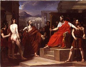 """Δάμων, Φιντίας και Διονύσιος, 1826, έργο με το οποίο ο 24χρονος τότε Ελουά Φερόν κέρδισε στη Γαλλία το πρώτο """"Βραβείο της Ρώμης. Από τη Βικιπαίδεια."""