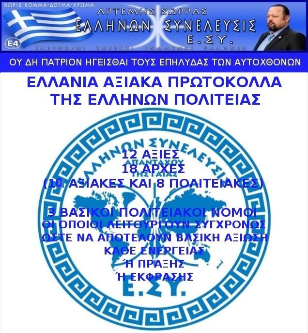 ΕΛΛΗΝΩΝ ΣΥΝΕΛΕΥΣΙΣ Ε.ΣΥ. ΕΛΛΑΝΙΑ ΑΞΙΑΚΑ ΠΡΩΤΟΚΟΛΛΑ 1