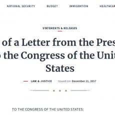 Η.Π.Α. Κείμενο επιστολής του Προέδρου DONALD J. TRUMP προς το Κογκρέσο των Ηνωμένων Πολιτειών. ΝΟΜΟΣ & ΔΙΚΑΙΟΣΥΝΗ. Εκδόθηκε στις: 21 Δεκεμβρίου 2017