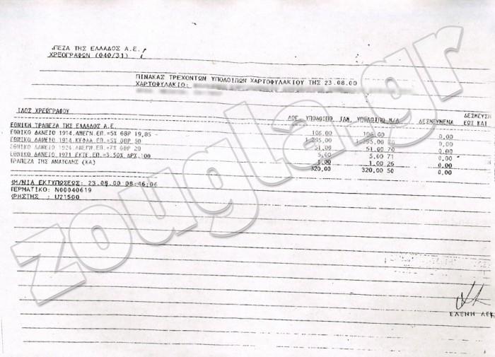 Το έτος 2000 και πιο συγκεκριμένα στις 23 Αυγούστου, η Τράπεζα της Ελλάδος κατόπιν σχετικού αιτήματος ενημερώνει γνωστό εκπαιδευτικό ίδρυμα, ο οποίος εδρεύει στην Περιφέρεια, για το περιεχόμενο του χαρτοφυλακίου που διαθέτει. Όπως καταδεικνύεται από το έγγραφο το οποίο αποκαλύπτει η zougla.gr, στο χαρτοφυλάκιο αυτό συμπεριλαμβάνονται χρεόγραφα της «Εθνικής Τράπεζας» τα οποία και αναφέρονται.