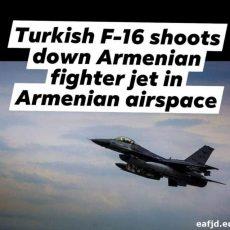 BREAKING. TURKISH F-16 SHOOTS DOWN ARMENIAN FIGHTER JET IN ARMENIAN AIRSPACE !!